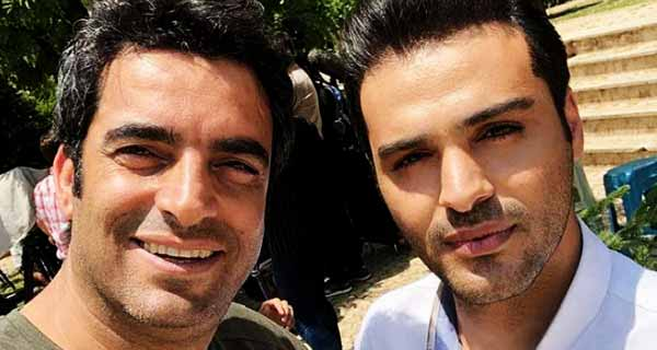 سامان صفاری در کنار منوچهر هادی کارگردان سریال دلدادگان ، عکس سامان صفاری