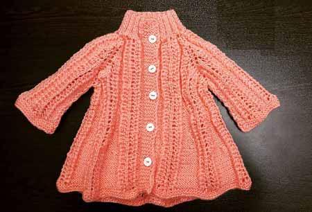 ژاکت بافتنی یقه بلند دخترونه زیبا رنگ مرجانی ، انواع  مدل های ژاکت بافتنی نوزاد و بچه گانه