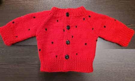 ژاکت بافت نوزاد پسرانه ، ژاکت بافتنی پسرانه  قرمز 4 دکمه ای
