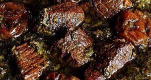 خورشت آلو اسفناج خوشمزه و مجلسی با گوشت گوساله و گوسفندی و بدون گوشت ، فیلم و عکس تهیه خورشت آلو اسفناج برای 5 نفر ، khoresht-aloo-esfenaj