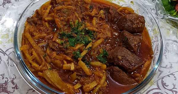 خورشت کنگر، طرز تیه و پخت خورشت کنگر خوشمزه و مجلسی با گوشت  گوسفندی و مرغ برای 4 تا 5 نفر در منزل, khoresht-kangar