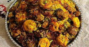 قارچ پلو با مرغ ، آموزش کامل طرز تهیه قارچ پلو زعفرانی خوشمزه و مجلسی مخصوص خانگی با مرغ ، gharch polo ba morgh