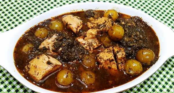 خورش گوجه سبز ، طرز تهیه و پخت خورش گوجه سبز مازندرانی خوشمزه و مجلسی مرحله به مرحله با گوشت گوسفندی و مرغ ، khoresh goje sabz