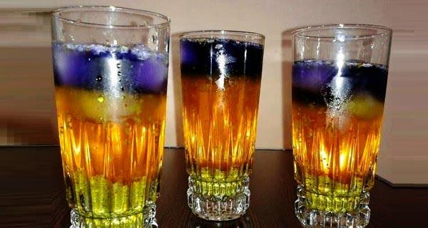 شربت سه رنگ با گل ختمی ، طرز تهیه و درست کردن شربت سه رنگ  خوشمزه و مجلسی با خاکشیر ، تخم شربتی و گل ختمی در منزل