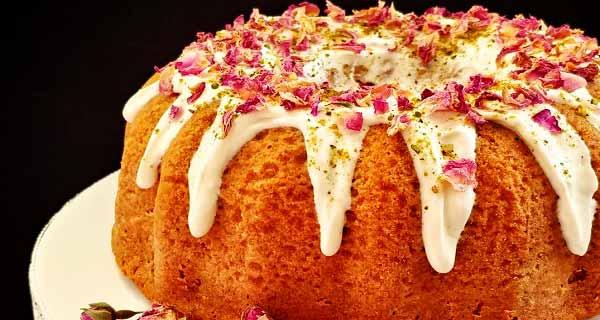 کیک هل و گلاب ، طرز تهیه و پخت کیک هل و گلاب خانگی خوشمزه و مجلسی در منزل ، cake hel golab