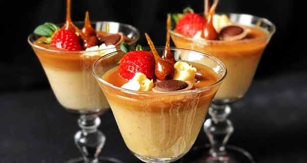 پودینگ کاراملی فندقی خانگی خوشمزه و مجلسی ، pudding-caramel-fandoghi