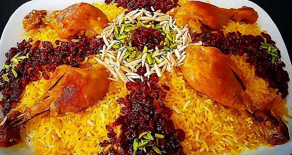رشک پلو، دستور پخت زرشک پلو با مرغ و هویج تالار برای 6 نفر، آموزش کامل زرشک پلو قالبی ، zereshk polo