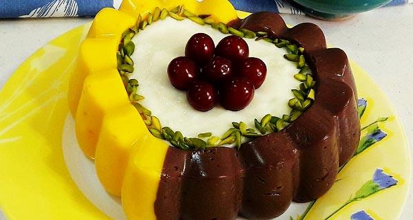 طرز تهیه دسر مشکوفی سه رنگ قالبی برای 4 و 8 و 20 نفر در منزل، dessert mashkofi se rang