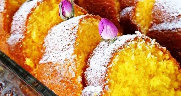 طرز تهیه کیک زعفرانی خانگی به صورت خوشمزه و مجلسی در خانه برای 2 تا 4 نفر، cake-zaferani