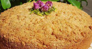 طرز تهیه و روش پخت کیک کرامبل نارگیلی خوشمزه و مجلسی در منزل با بیسکویت پتی بور و ساقه طلایی