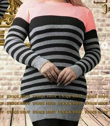 مدل لباس بافت راه راه زنانه